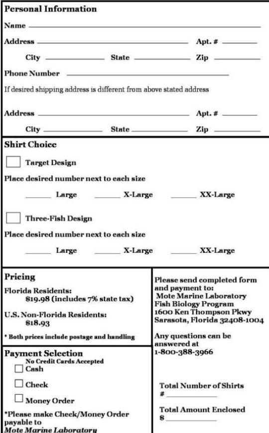 Tshirtorderform – T Shirt Order Forms